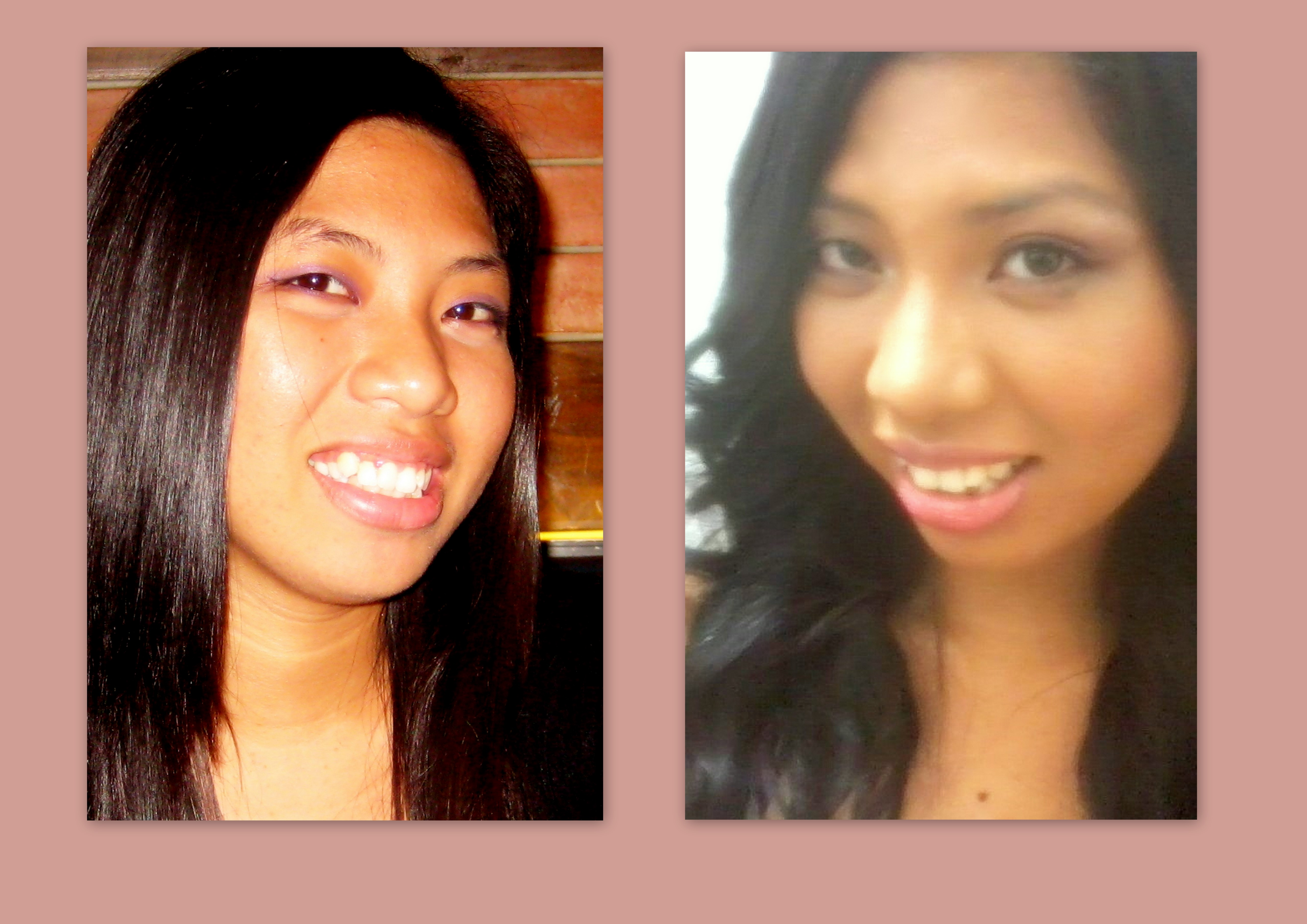 Kristel with a mini Eye and cheek-over with her regular pretty straight hair