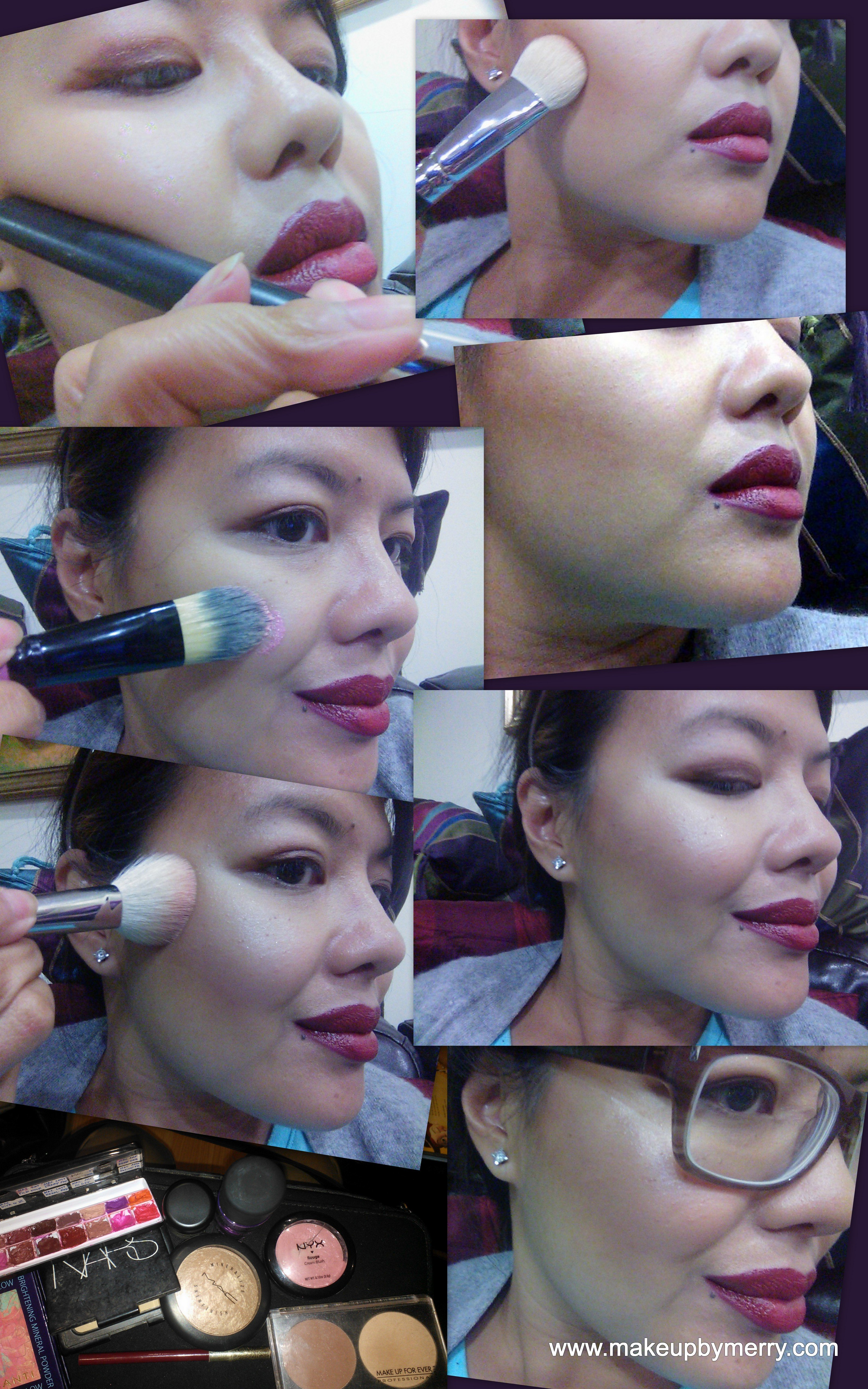 Sculpted cheeks and Fall's red lips